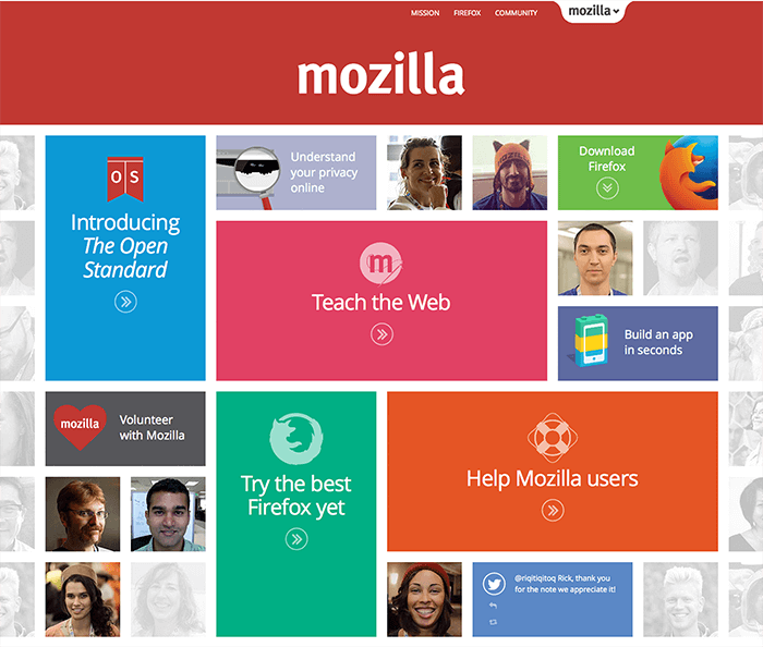 Screenshot of Mozilla 2015 homepage
