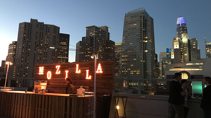 Photo of San Fransisco's skyline taken at the Monday night event for Mozilla All-Hands, June 2018.
